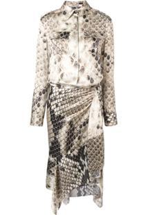 Roberto Cavalli Asymmetric Mid-Length Dress - Neutro