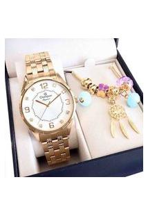 Relógio Champion Feminino Dourado Analógico Cn25814W + Pulseira Berloques