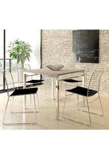 Mesa 1525 Nogueira Cromada Com 4 Cadeiras 1712 Preta Carraro