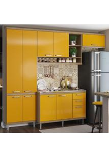Cozinha Compacta 9 Portas 3 Gavetas Com Balcão Para Pia 5840 Amarelo/Argila - Multimóveis