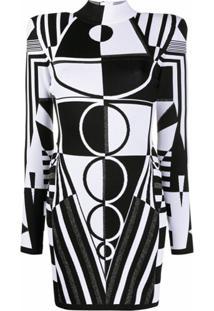 Balmain Vestido Mini Jacquard Com Padronagem Geométrica - Preto