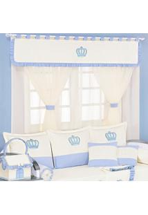 Cortina Dupla Padroeira Baby Realeza New Azul Bebê