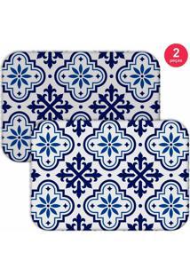 Jogo Americano Love Decor Ladrilho Blue Branco/Azul - Kanui