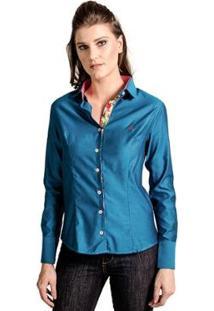 Camisa Slim Reta Carlos Brusman Feminina - Feminino-Azul