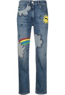 Love Moschino Calça Jeans Slim Com Estampa Arco-Íris - Azul