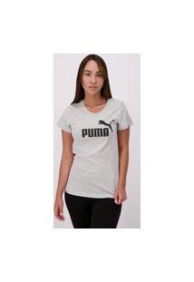 Camiseta Puma Essentials Logo Feminina Cinza