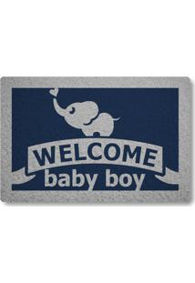 Tapete Capacho Welcome Baby Boy - Azul Marinho
