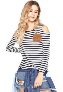 Blusa Hang Loose Stripes Mermaids Branca/Azul