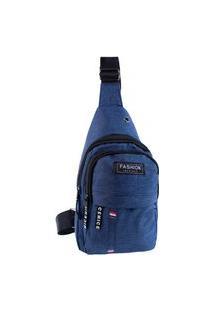 Bolsa Masculina Transversal Pequena De Nylon Ombro Costas Bolsa De Peito Azul