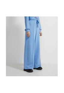 Calça Pantalona Em Moletom Com Amarração Na Cintura E Detalhe Space Jam   Space Jam   Azul   M