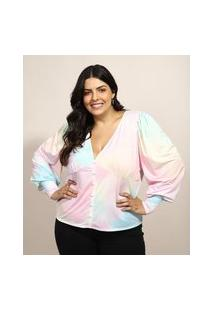 Blusa Feminina Plus Size Mindset Estampada Tie Dye Manga Bufante Decote V Multicor