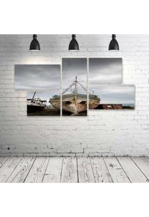 Quadro Decorativo - Barco-Abandonado - Composto De 5 Quadros - Multicolorido - Dafiti