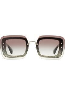 Miu Miu Eyewear Reveal Glitter Sunglasses - Cinza