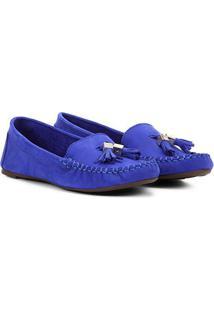 c0e73ccd88 Mocassim Couro Santa Lolla Barbicachos Feminino - Feminino-Azul Royal