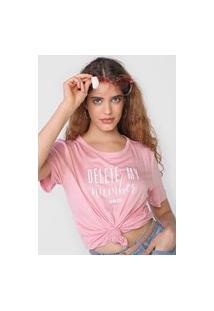 Camiseta Colcci Delete My Number Rosa