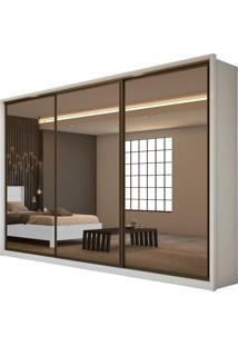Guarda Roupa Casal Com Espelho 3 Portas 6 Gavetas Spazio Super Glass Bege - Tricae