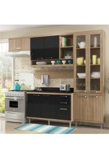 Cozinha Completa Multimóveis Com 6 Peças Sicília 5817 Argila/Preto