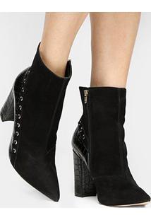 Bota Couro Shoestock Cano Curto Textura Feminina - Feminino-Preto