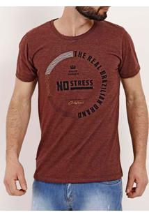 Camiseta Slim Manga Curta Masculina No Stress Bordô