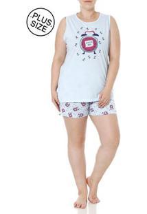 Pijama Curto Plus Size Feminino Azul
