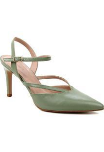 Scarpin Couro Shoestock Bico Fino Tiras Salto Alto - Feminino-Verde Militar