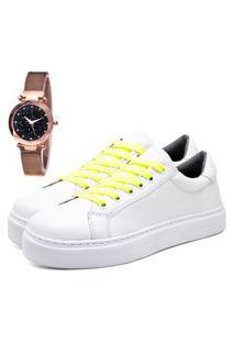 Tênis Sapatênis Urbano Com Relógio Gold Feminino Dubuy 310Db Branco