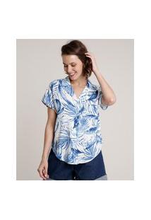 Camisa Feminina Ampla Estampada De Folhagem Com Bolso Manga Curta Off White