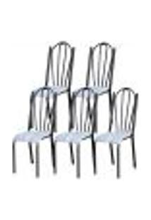 Kit 05 Cadeiras Tubular Cromo Preto 021 Assento Linho