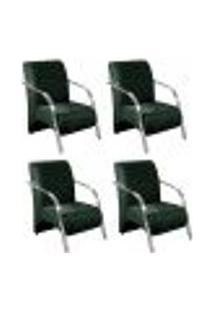 Conjunto De 4 Poltronas Sevilha Decorativa Braço Alumínio Cadeira Para Recepção, Sala Estar Tv Espera, Escritório - Veludo Verde