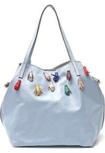 Bolsa Mantoan Couro Ombro C/ Clutch Removível Macia Feminina - Feminino-Azul Claro