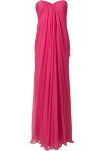 Alexander Mcqueen Vestido Longo Drapeado - Pink & Purple