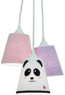 Lustre Crie Casa Pendente Cacho Triplo Frufru E Panda