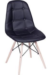 Cadeira Eames Botonê- Preta & Madeira Clara- 83X44X3Or Design