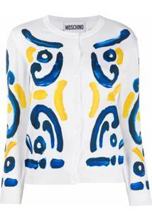 Moschino Cardigan Com Abotoamento E Estampa - Branco
