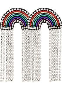 Venessa Arizaga Par De Brincos 'Rainbow' Banhados A Prata Com Aplicações - Estampado