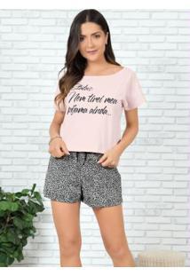 Pijama Onça E Rosa Blusa Com Decote Canoa