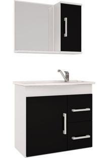 Armário Banheiro Com Espelheira E Pia Em Mármore Sintetico Branco/Preto Vix Mgm