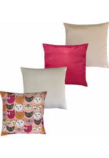 Kit Com 4 Capas Para Almofadas Hong Kong Douvelin Pink - Tricae