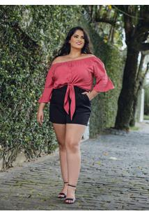 Blusa Ombro A Ombro Almaria Plus Size Peri Rosa