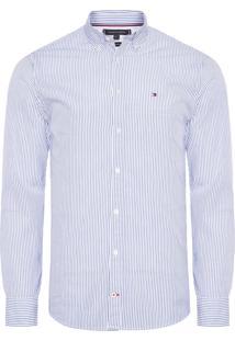 Camisa Masculina Fresh Stripe - Branco E Azul