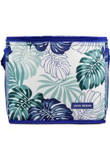 Bolsa Térmica Folhas - Branca & Azul - 24X21X27Cmjacki Design