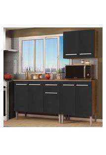 Cozinha Compacta Madesa Emilly Free Com Armário E Balcão - Rustic/Preto Rustic
