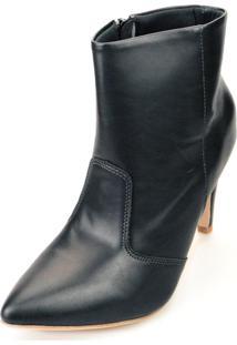 Bota Love Shoes Alto Cano Curto Bico Fino Recortes Preto