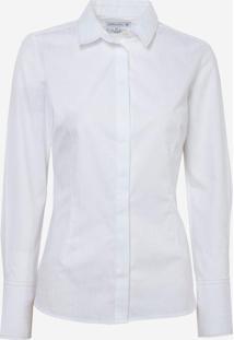 Camisa Dudalina Manga Longa Jacquard Pespontos Feminina (Branco, 38)