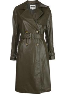 Apparis Faux Leather Trench Coat - Hunter Green