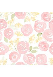 Papel De Parede Stickdecor Adesivo Floral Watercolor Nursery 100Cm L X 300Cm A - Rosa - Dafiti