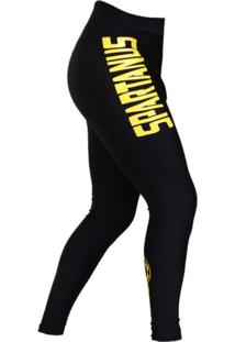 Calça De Compressão Spartanus Fightwear Yellow Tribal Preto