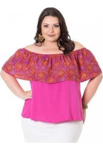Blusa Ciganinha Em Viscose Peach Miss Masy Plus Size Feminina - Feminino-Rosa
