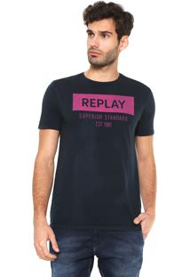 Camiseta Replay Superior Standard Azul-Marinho