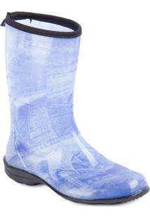 Bota Cano Médio - Pat - Feminino-Azul